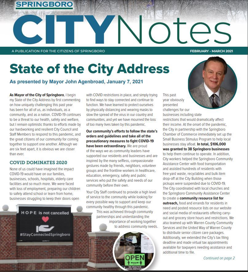 City Notes Feb March 2021 front page