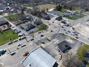 Aerial View Looking South at new Power Poles being placed - March 22, 2017