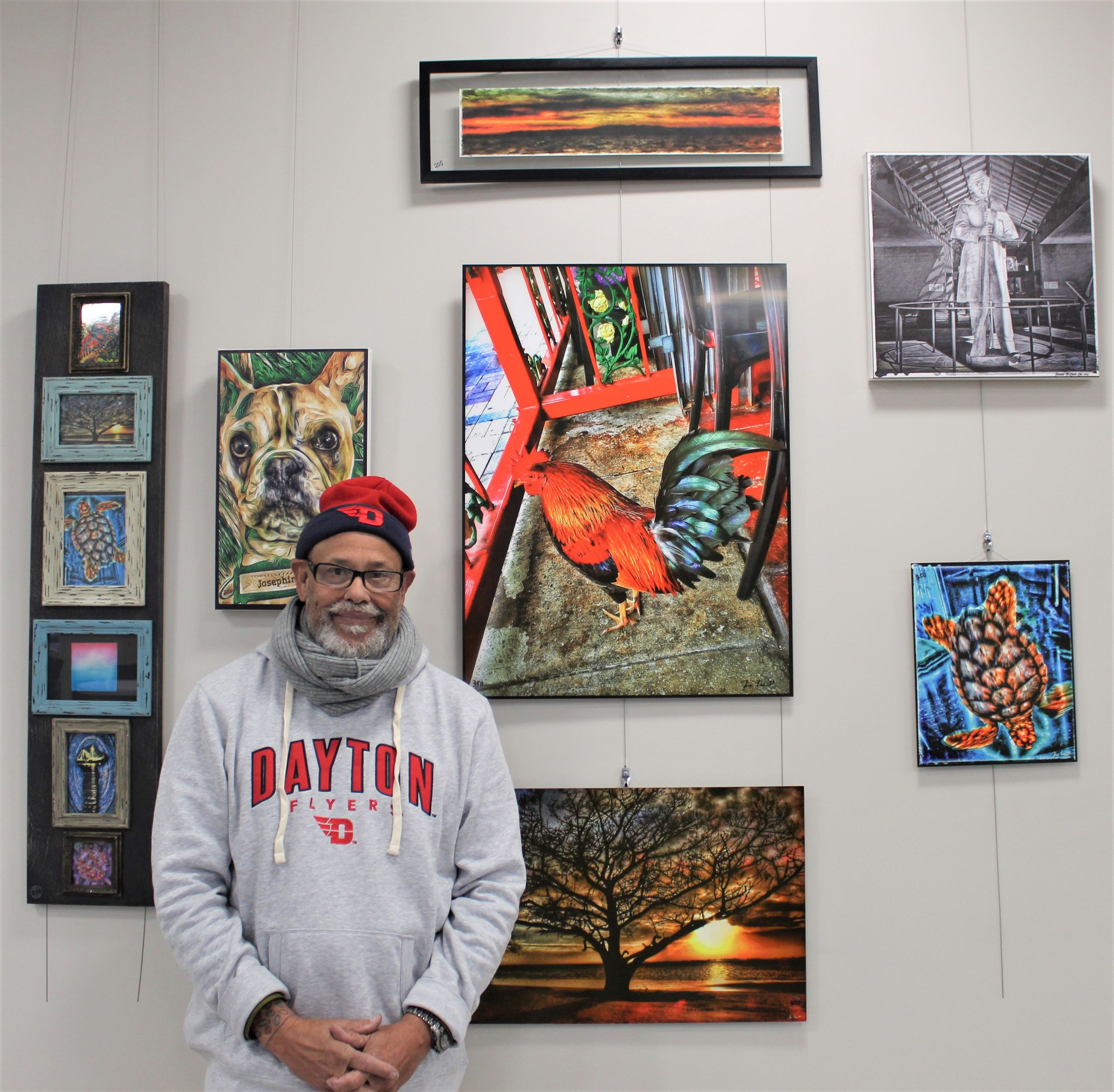 Artist Ron Lee with his exhibit